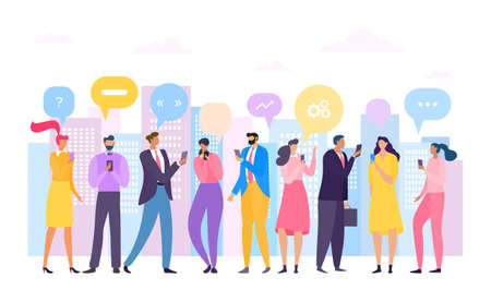 Phone social media network, bubble smartphone chat vector illustration. Chatting message speech man woman character. Online