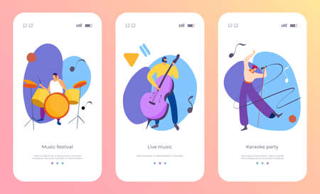 Instrument set cartoon app concept vector illustration. Web mobile musical artist character play flat music at website screen page