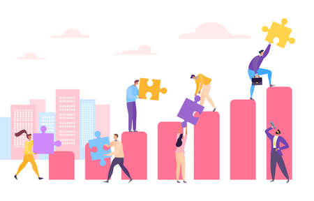 Business people at diagram with puzzle concept, vector illustration. Profit graph by success strategy, teamwork growth chart.