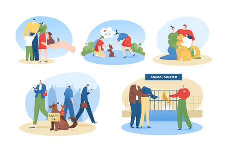 Pet adoption, homeless animals shelter, people adopt dog flat vector illustrations set. Happy domestic animals owners cartoon characters. Vettoriali