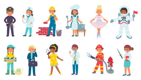 Children in costumes of different professions, isolated on white set of vector illustrations. Doctor, professional worker, fireman police. Ilustrace