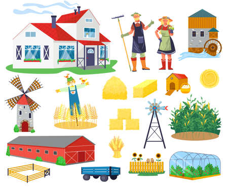 Farm buildings and constructions flat infographic vector elements set. Icons of farmer house, barn, windmill, watermill and greenhouse, tower.