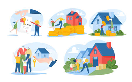 Mortgage concept, family renting house, home search isolated vector illustrations set. Mortage of real estate, rent country house, investment.