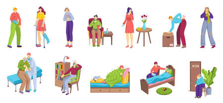 People with pain, unhappy sick men and women suffering ache or illness, set of isolated vector illustrations. Pain in different body.