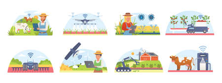 Smart farm and agriculture set of isolated vector illustrations. Farmers technology management information systems.