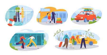 Travelers and tourists transport set of isolated vector illustrations. Trip to world by different vehicles. Suv car, by plane in airport. Vettoriali