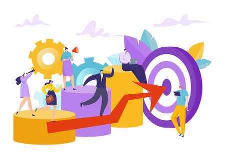 Business success achievement, people career progress concept vector illustration. Flat work target, job marketing challenge.
