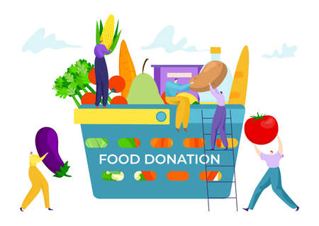 Basket box with food donation concept vector illustration. People make grocery donate, cartoon help for poor people.