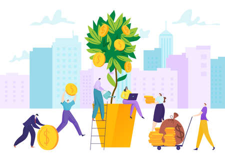 Money business investment, finance plant tree concept vector illustration. Success financial growth, cartoon businessman.