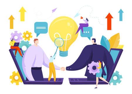 Business people handshake for partnership deal concept, vector illustration. Businessman work for flat success agreement.