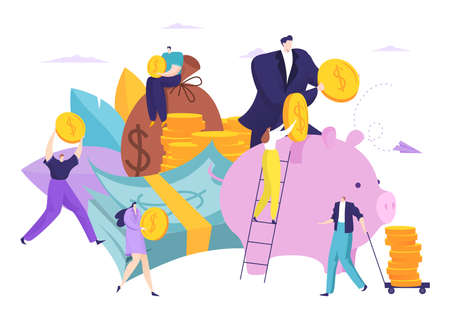 Saving people money in bank, finance concept vector illustration.Cash currency banking, financial coin investment. Flat deposit