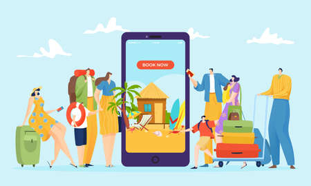 Travel booking online at smartphone, summer tourism reservation vector illustration. Tourist design holiday vacation in internet