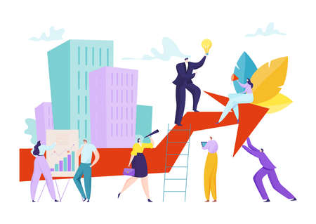 Business people at diagram, business man graph vector illustration. Man woman teamwork achievement, cartoon financial team success 矢量图像