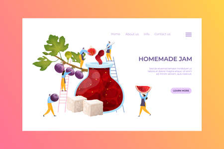 People together carry berry fruit, concept production handmade jam landing page concept cartoon vector illustration. Website online text banner.