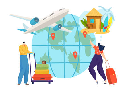 Planet travel at vacation, people journey by plane vector illustration. Flat person tourist character have trip at holiday 일러스트