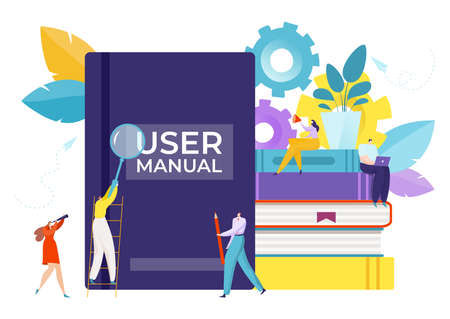 Guide for user manual book, vector illustration. Information instruction at flat service, guidance tutorial in cartoon document.