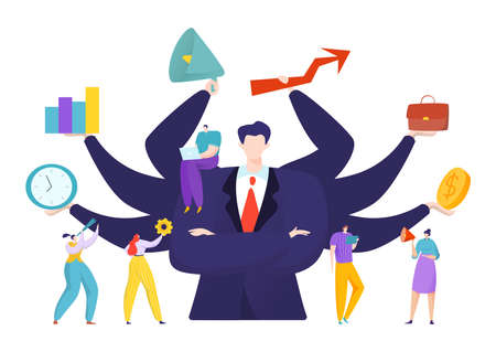 Virtual business assistant for people achievement concept, vector illustration. Advance analytics and balance. Man with many hands