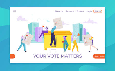 Election concept, poll choice vector illustration, Flat democracy campaign, vote for person to government digital design. 矢量图像