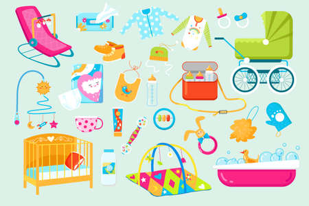 Baby and newborn care accessories icons set of vector illustrations. Toys, bed, cloths, baby soother and stroller. Cute childs bed, rattle.