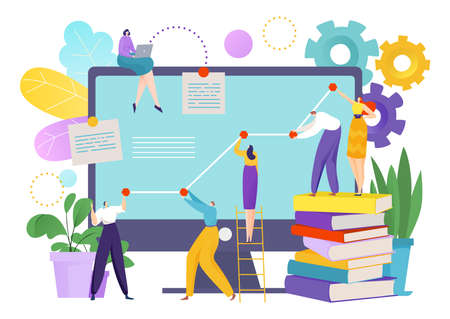Teamwork diagram development, infographic finance research and analysis vector illustration. Strategy planning chart at laptop