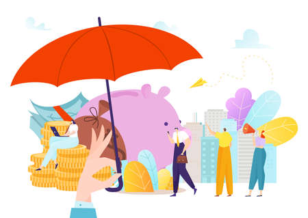 Insurance money protection with umbrella, currency finance investment concept vector illustration. Cash coin deposit, business dollar wealth safety.