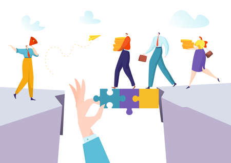 Business person man woman concept make puzzle connection for success solution bridge, vector illustration. Businessman abstract teamwork
