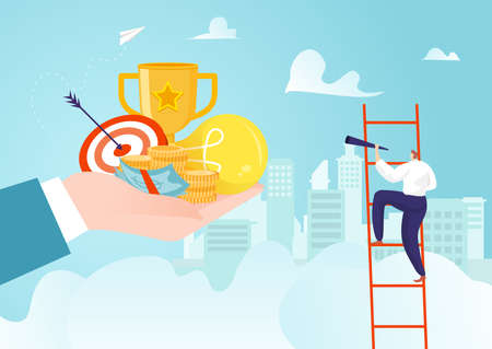 Achievement career progress and success goal for development, leadershiop growth vector illustration. Man step up with ambition 矢量图像
