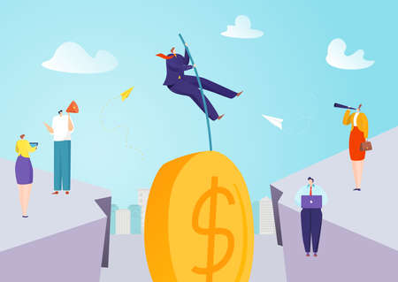 Finance investment jump and ambitious leap for money vector illustration. Jumping to success banking, determined financial savings