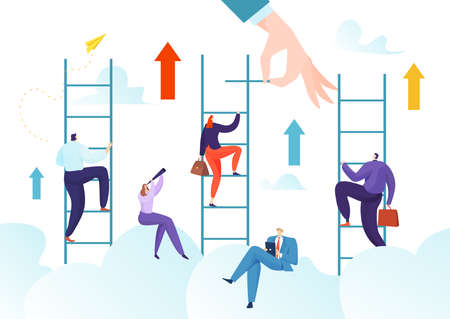 Success career achievement by way up, challenge aspiration to growth vector illustration. Leadership ambition in job, opportunity for leader progress.
