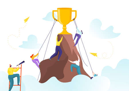 Success career achievement and successful leadership winner vector illustration. Corporate gold goal, trophy for manager employee. 矢量图像