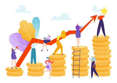 Finance investment growth, money profit success vector illustration. Financial economy profit, income wealth at bank stock graph. 向量圖像