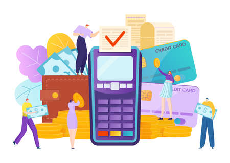 Online banking credit money, transaction payment in bank vector illustration. Pay in finance terminal, electronic commerce