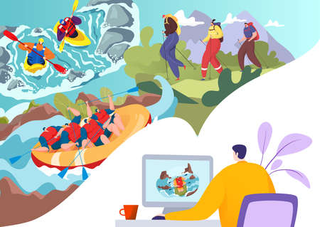 Employee trip dream at desk, planning journey idea in laptop vector illustration. Man character search, thinking for preparation