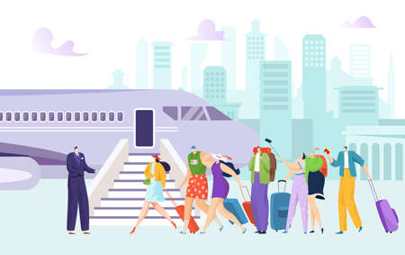 Airplane at airport, flight plane passenger go for journey transportation vector illustration. Trip by jet transport, international fly boarding.