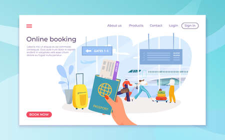 Flight ticket booking in smartphone online app, vector illustration. Airline plane trip for journey, airport passenger at screen landing page 矢量图像