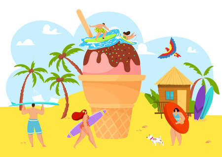 Summer beach with people, huge ice cream and happy vacation sweet dessert party vector illustration. Cartoon man woman at sun fun holiday