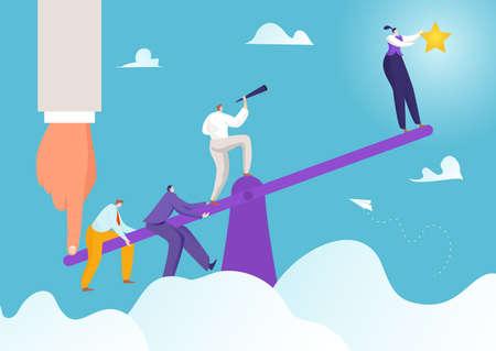 Success business achievement at seesaw concept, vector illustration. Support leadership goal, businessman woman team symbol.