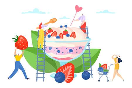 Flat summer ice cream sweet dessert design, cartoon girl man character banner vector illustration. Person at fresh ice cream concept. Vettoriali