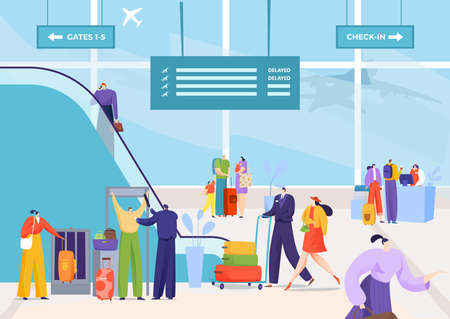Airport departure travel, man woman at terminal vector illustration. Business airplane flight with luggage, vacation at transport concept.