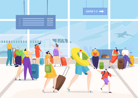 Airport terminal, people with travel luggage go for vacation vector illustration. Journey transport flight for travel, tourism trip with bag baggage.