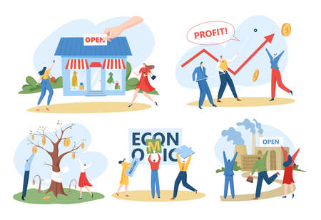Economic recovery after crisis concept, vector illustrations set. Business and economy continuity and financial recovery.