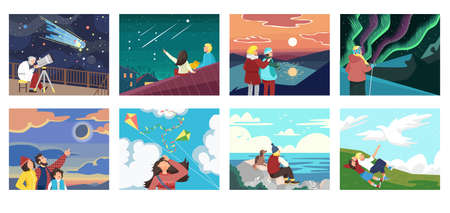Set of people looking at sky vector illustration. Observation, inspiration and romantic. Scientist with telescope, tourist traveling. Vecteurs