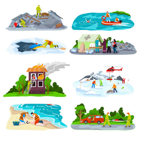Rescuers team save people lives set of vector illustrations. Drowning first aid. Patient woman in unconscious. Heart attack victim rescue. Illustration