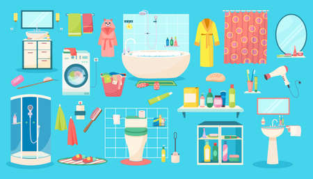 Bathroom accessories vector illustration set, cartoon flat bath accessory collection of personal hygiene care items, products Иллюстрация