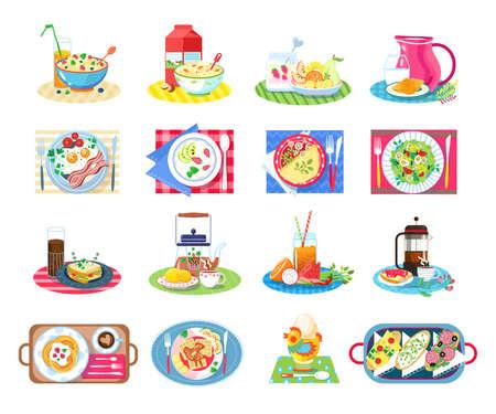 Breakfast healthy food vector illustration set, cartoon flat tasty food drink collection for breakfasting, classic morning menu