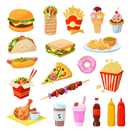 Fast food vector illustration set, cartoon flat unhealthy streetfood cafe menu collection for junk food party isolated on white