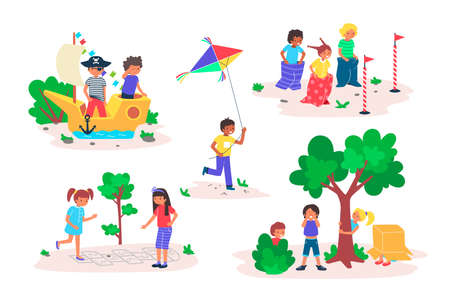 Kids play games outdoor vector illustration set, cartoon flat happy childhood playtime collection with children friends playing Stock Illustratie