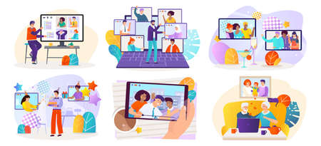 Online meeting, video call concept vector illustration set, cartoon flat happy people meet, communicate with friends or family