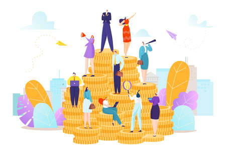 Financial business concept, people stand at finance money coin vector illustration. Success bank investment, businessman woman profit cash.