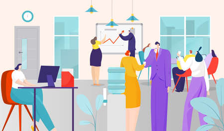 Business people work in office, vector illustration. Coworking team space, job workplace with computer. Man woman character